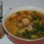 Grybų sriuba su kumpiu
